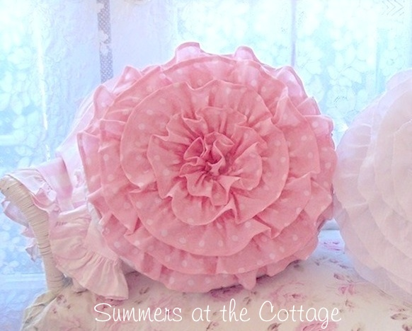 Peachy Pink Ruffled Pillow