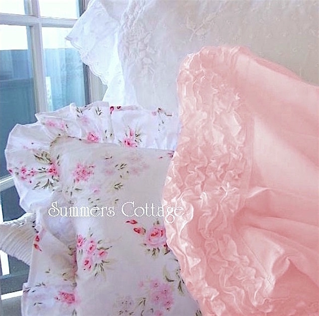 Peachy Pink Ruffle Pillow Cases