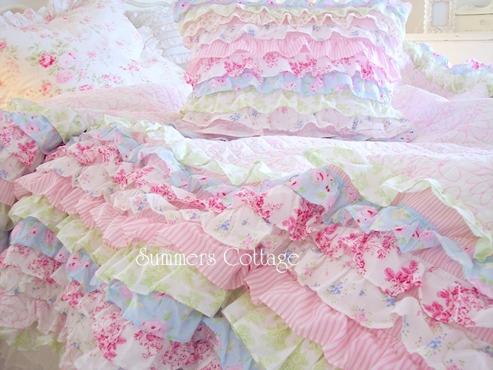 Twin Petticoat Ruffles Cottage Colors Bedding