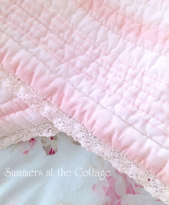 Pink Cabana Striped Polka Dot Quilt