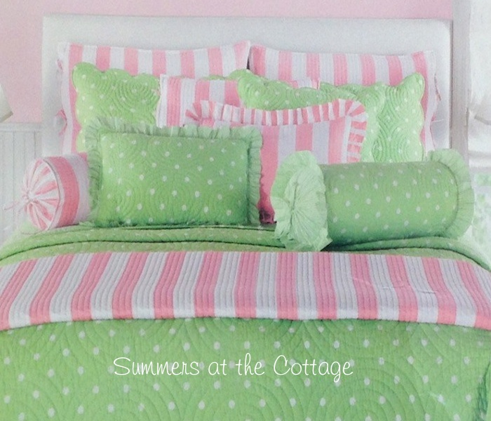 Pink White Cabana Striped Quilt
