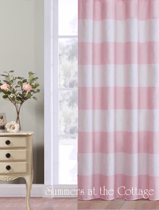Pink Cabana Stripe Curtain Drapes