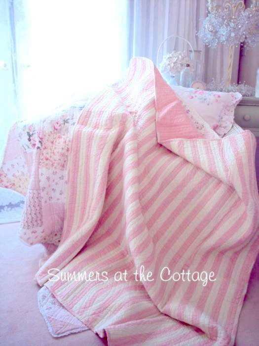 Beach House Pink White Stripe Throw Quilt