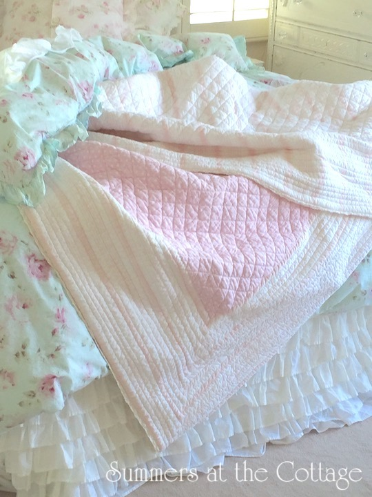 Pink Cabana Stripes Polka Dots and Lace Quilt