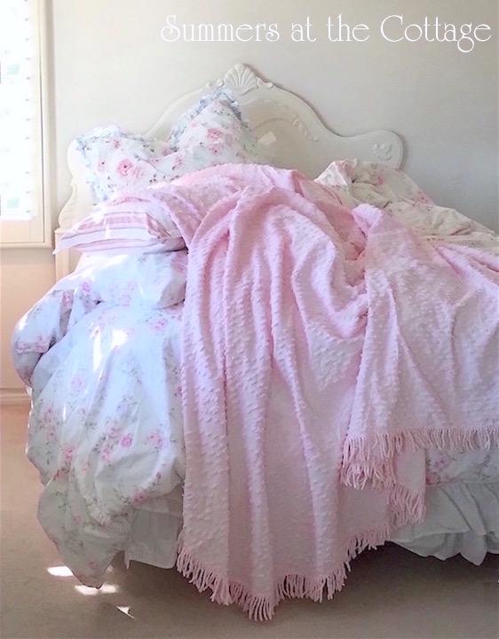 Vintage Chenille Bedspread Pink Popcorn Fringe