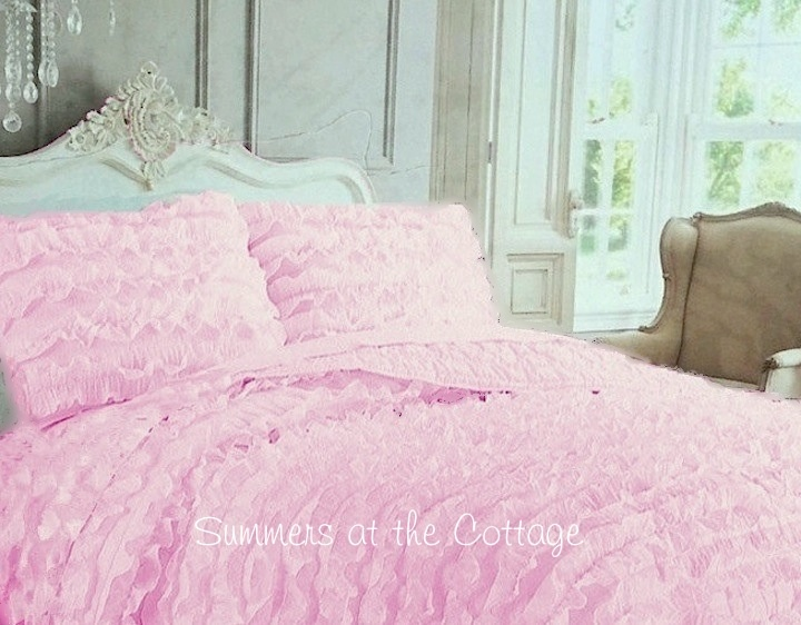 French Chateau Pink Ruffle Bedding