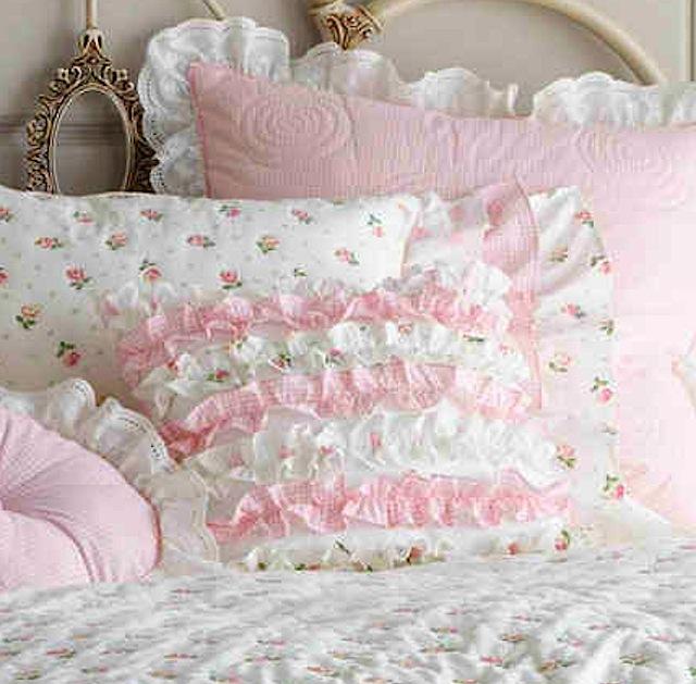 Darling Ruffled Rosebud Pillow or Sham