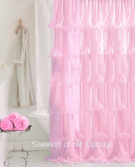 Pink Ruffle Shower Curtain