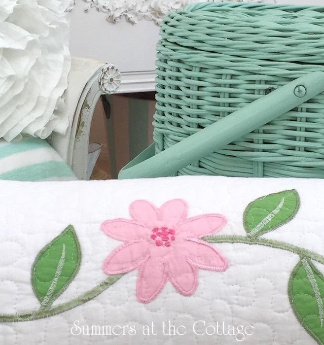 Aqua ruffled flowers shower curtain