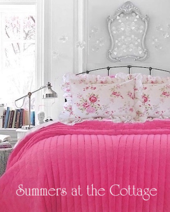 Rosy Pink Fur Quilt Wildflower Roses Ruffled Shams