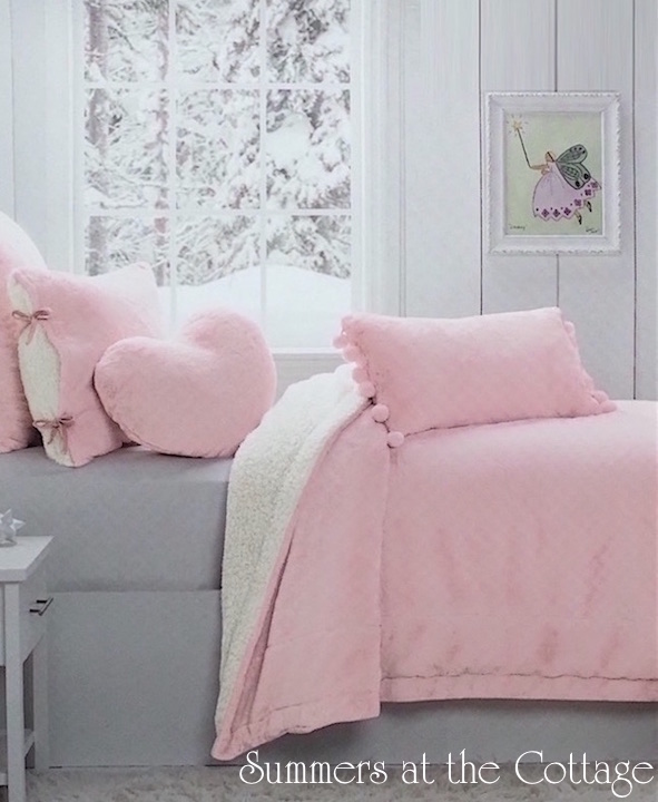 Pink Parfait Winter Snow White Sherpa Blanket Set