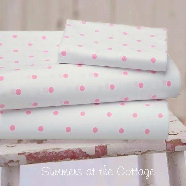 Shabby Pink Chic Whimsical Polka Dots, Pink Polka Dot Bedding