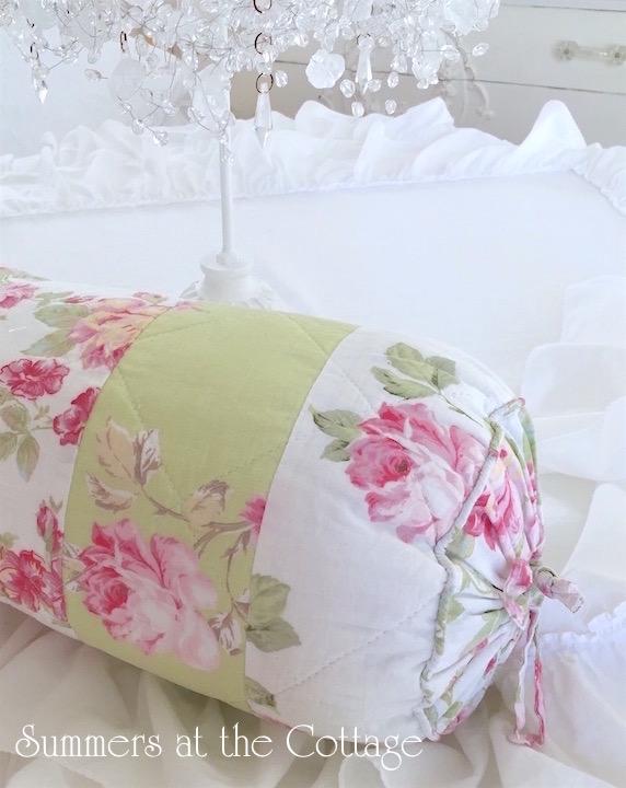 Pink Roses Apple Green Bolster Pillow