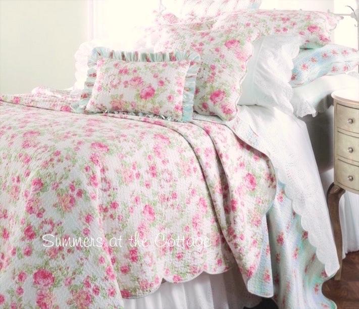 Pink Peony Roses Aqua Blue Ticking Stripe Quilt Set