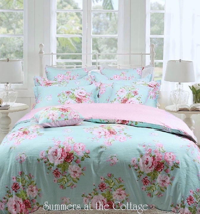 Pink Roses on Beach House Aqua Blue