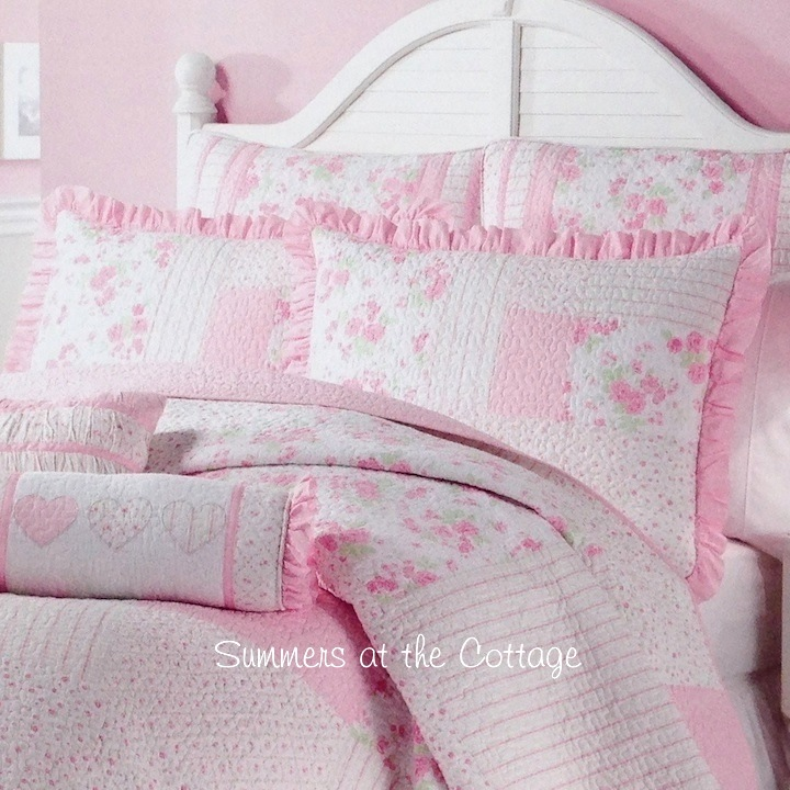 Pink Roses Cottage Stripes Patchwork Quilt