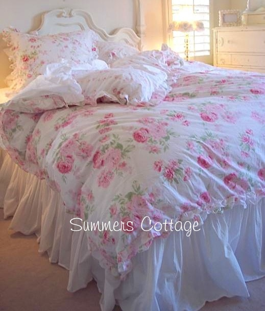 rachel ashwell shabby chic treasures peony pink roses ruffled king duvet. Black Bedroom Furniture Sets. Home Design Ideas