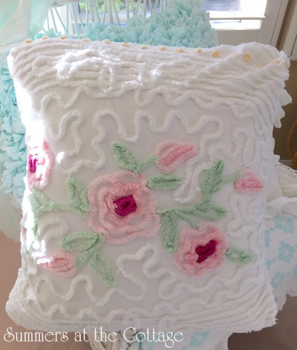 Vintage Chenille Pink Roses Mint Green Pillow