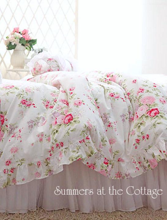 Pink Roses Ruffled Duvet