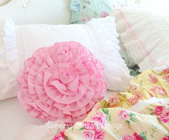 Darling Pink Ruffle Round Pillow