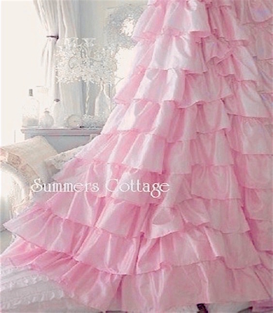 Pink Petticoat Ruffle Shower Curtain