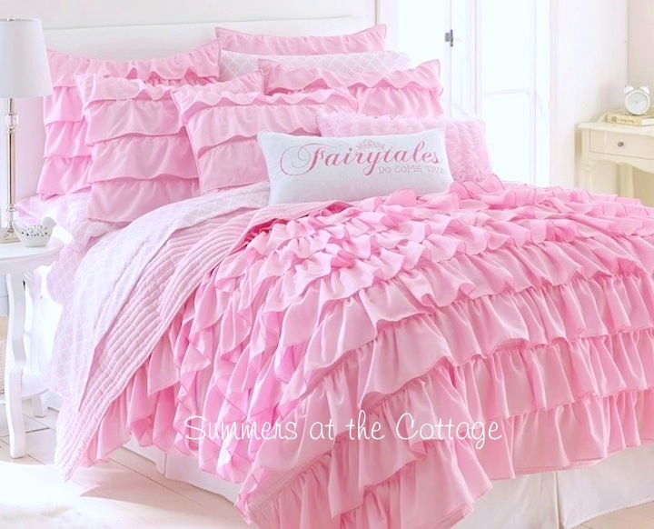 Pink Layered Ruffle Quilt Set