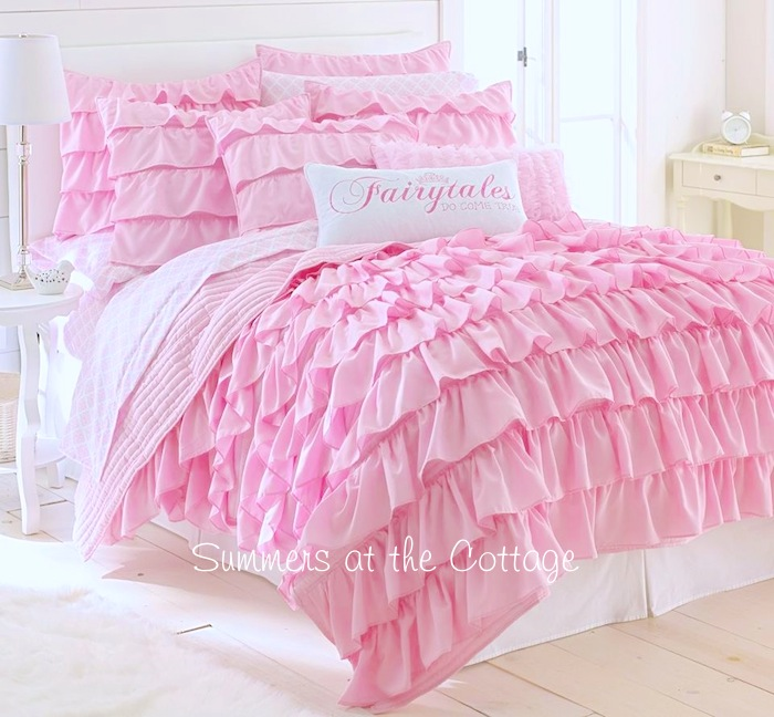 Perfectly pink dreamy ruffles comforter set french cottage for Frilly bedspreads