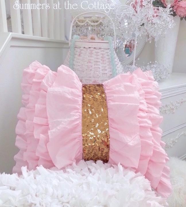 Gold Sequins Pink Ruffles