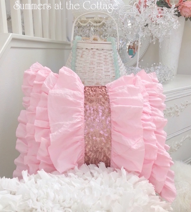 Pink Ruffles and Sequins Pillow