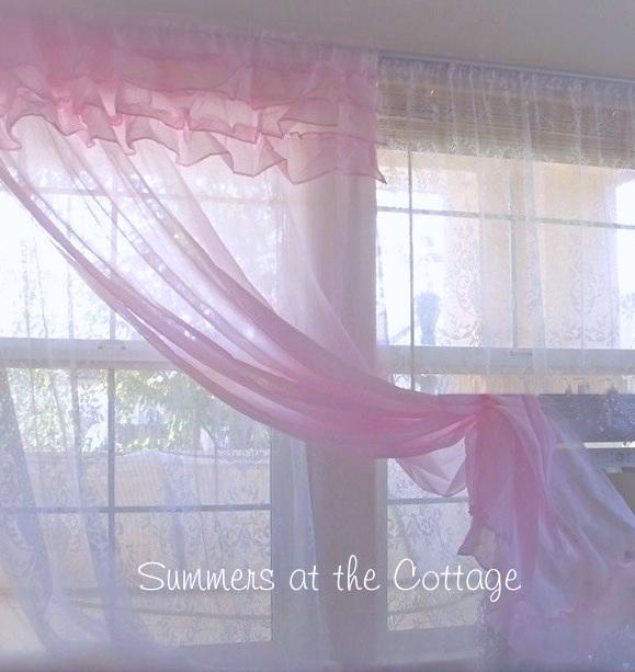 Pink Chiffon Ruffles Curtain