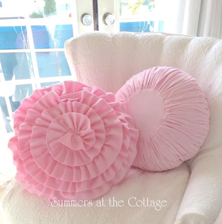 Round Pink Velvet Pillow