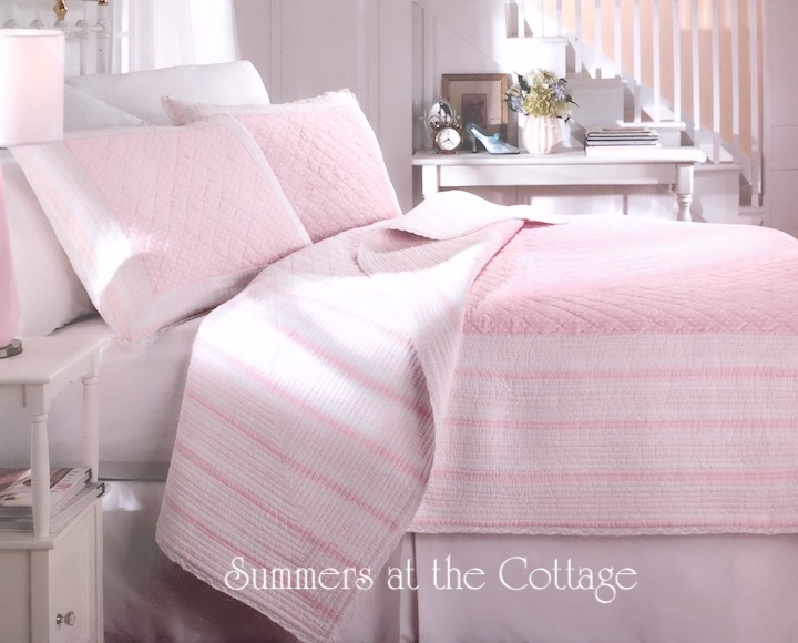 Pink Beach House Cabana Stripe Bedding