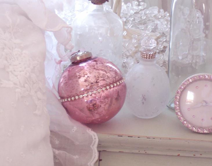 Rhinestones Pink Mercury Glass Ornaments