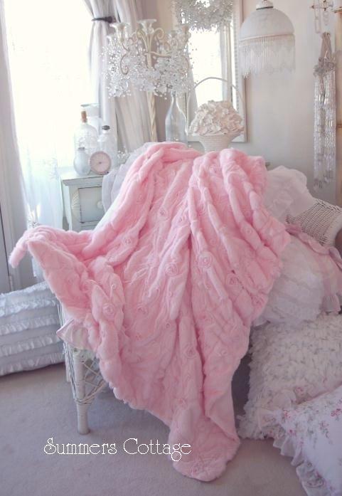 Shabby Baby Pink Fur Satin Ribbon Ruffle Roses Chic Throw