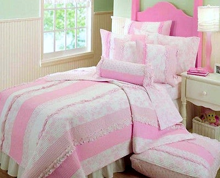Mandy Ruffle Pink Roses White Stripe Quilt