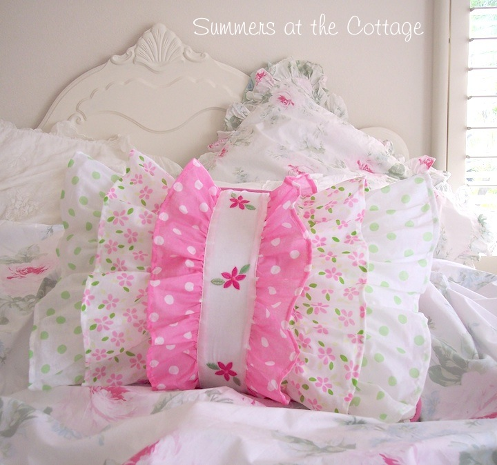 Darling Pink Polka Dot Daisy Ruffled Pillow