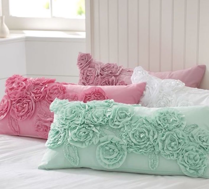 Pottery Barn Painted Cottage Ruffles Rosette Roses Pillow