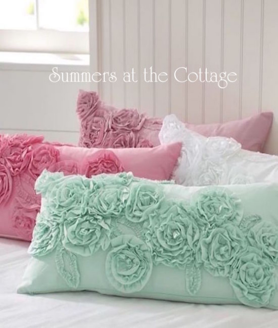 Pottery Barn Ruffle Roses Pillow Covers
