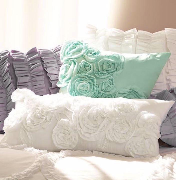 White Rosette Roses Pillow