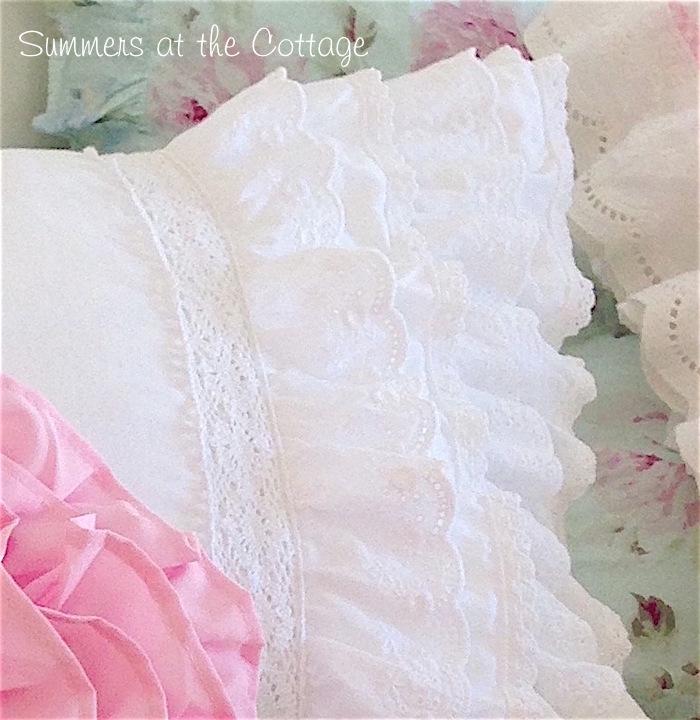 Pretty White Ruffles Crochet Lace Pillow Sham