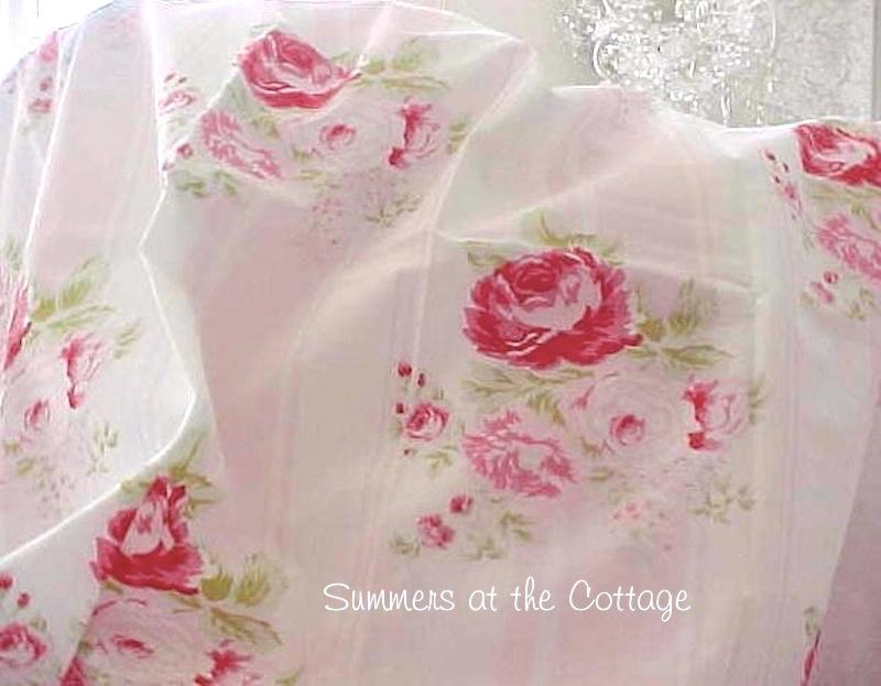 Shabby Chic Pink Roses Cabana Stripes