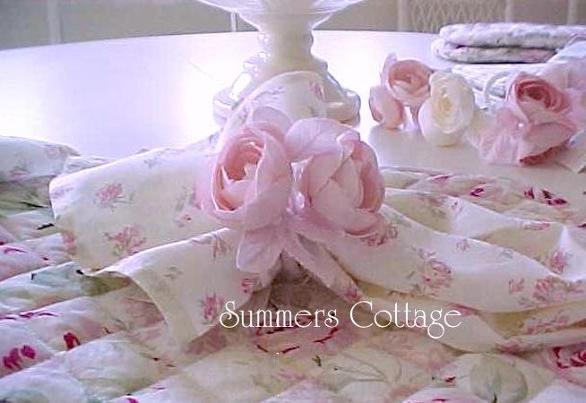 Shabby chic pink roses napkins