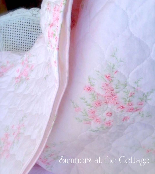 Shabby Chic Pink Corsage Throw Quilt