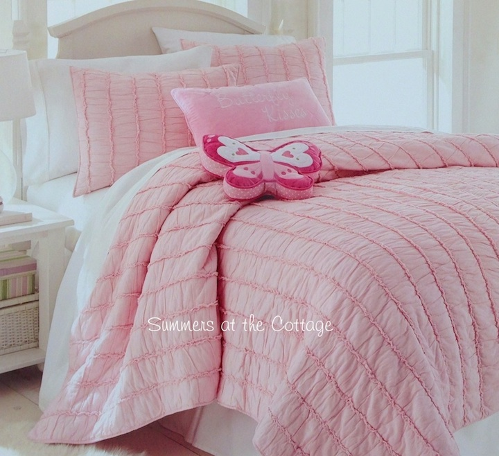 Pink Rag Ruffled Quilt Set