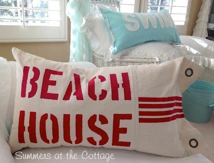 Red Lettered Beach House Pillow