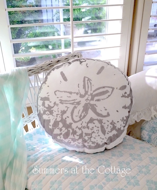 Beach Pillow Silver Sand Dollar