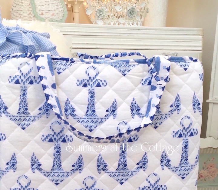 Blue Anchors Quilt Beach Bag