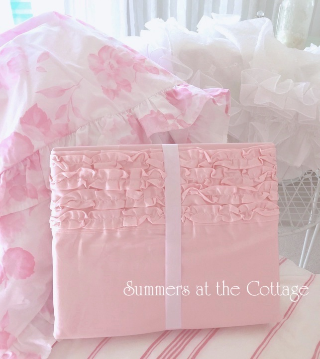 Shabby Chic Pink Ruffled Sheet Set