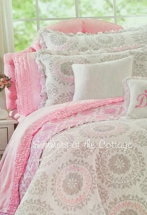 Pink Gray Ruffled Flower Medallion Bedding