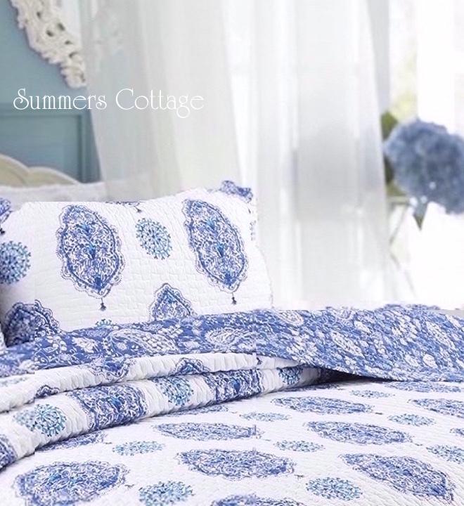 Paisley Flowers Blue Aqua Quilt Set